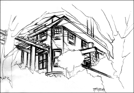 Pen House Drawing Pen And Ink Drawing